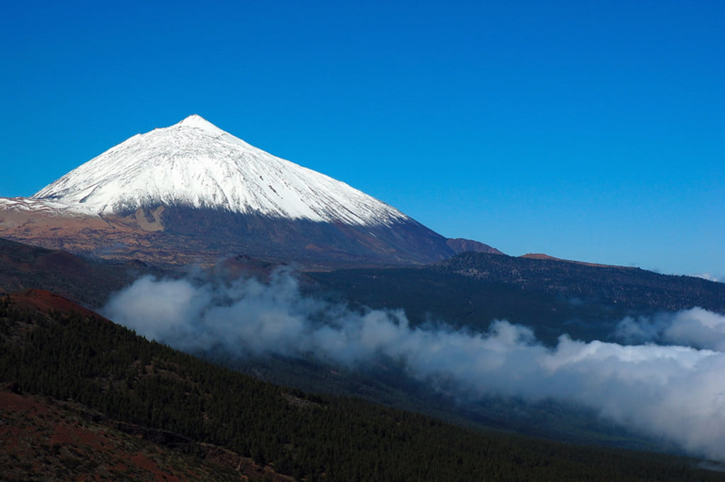 Mount Teide with snow on the summit