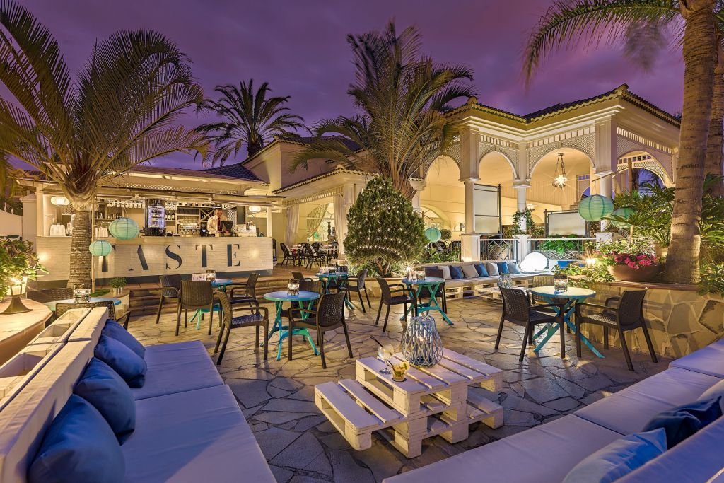 Drinks and Snack bar terrace area at the Gran Oasis Resort Hotel in Tenerife, Canary Islands