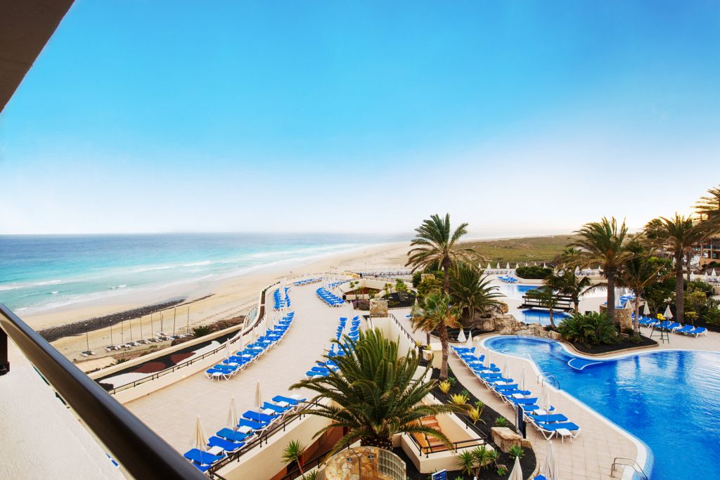 Seaview and swimming pool at the Iberostar Playa Gaviotas in Jandia, Fuerteventura